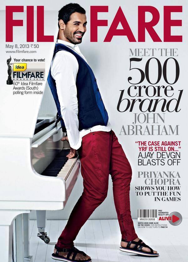 John Piano Looking Rigid Pose On The Cover Of Filmfare Magazine May 2013 Issue