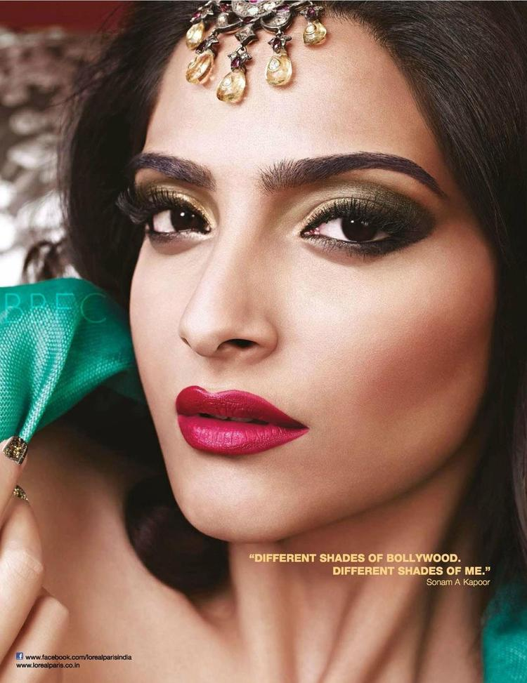 Sonam Gorgeous Look With Red Lippy Shoot For Cannes 2013 L'Oreal 2013 Collection