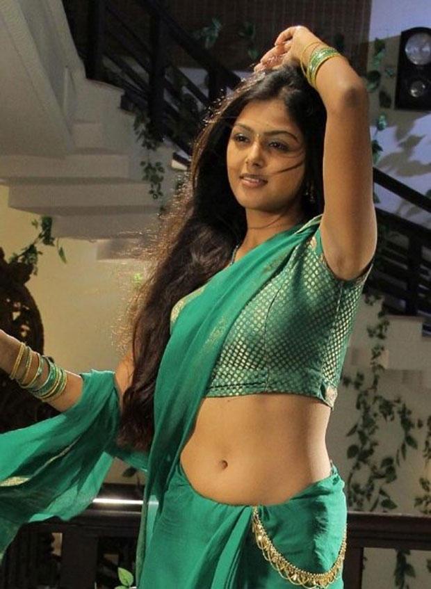 Monal Gajjar Spicy Navel Show In Green Transparent Saree
