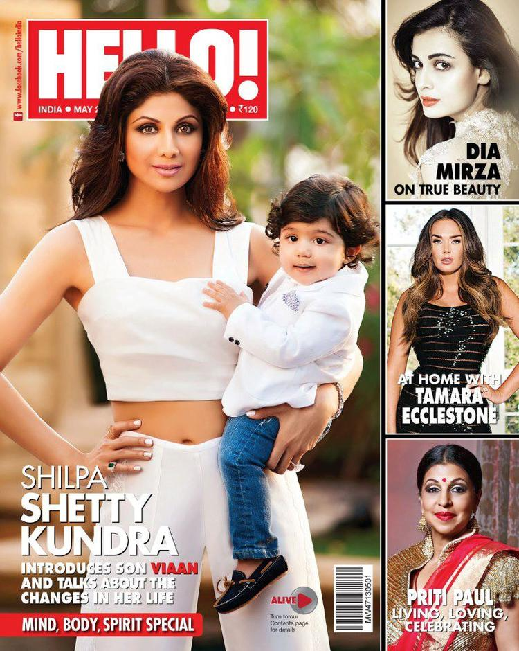Shilpa And Her Son Viaan Graced On The Cover Of Hello! India May 2013