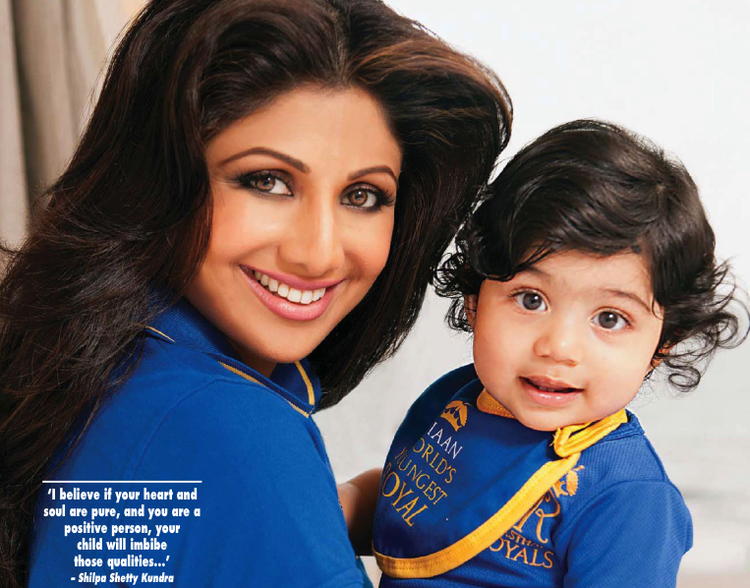 Shilpa And Her Son Viaan Smiling Look Photo Shoot For Hello! India May 2013
