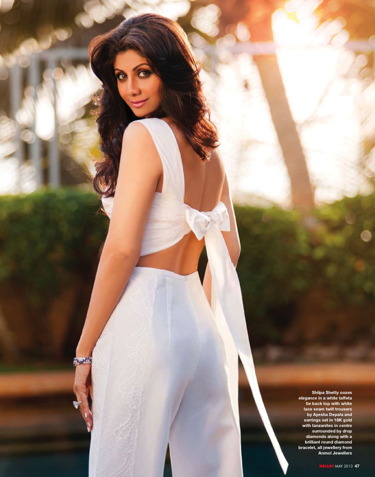 Shilpa Shetty In White Dress Sexy Look Photo Shoot For Hello! India May 2013