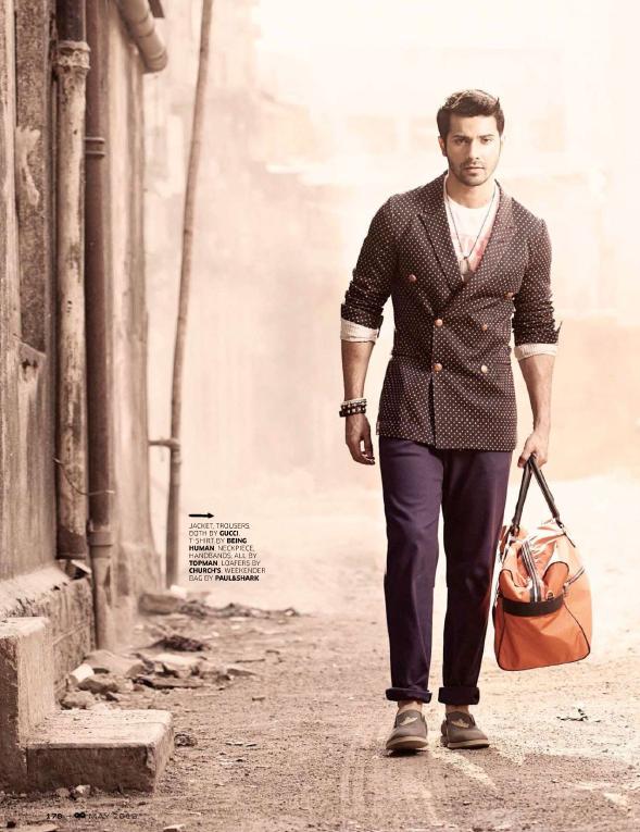 Varun Dhawan With A Bag Stylish Look Photo Shoot For GQ India May 2013
