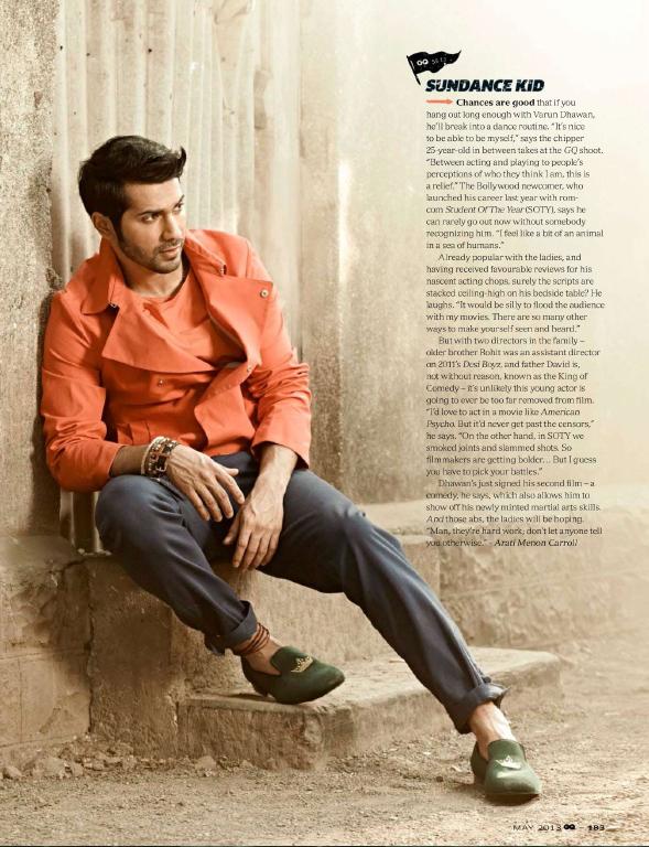 Varun Dhawan Modeling Pose Photo Shoot For GQ India May 2013