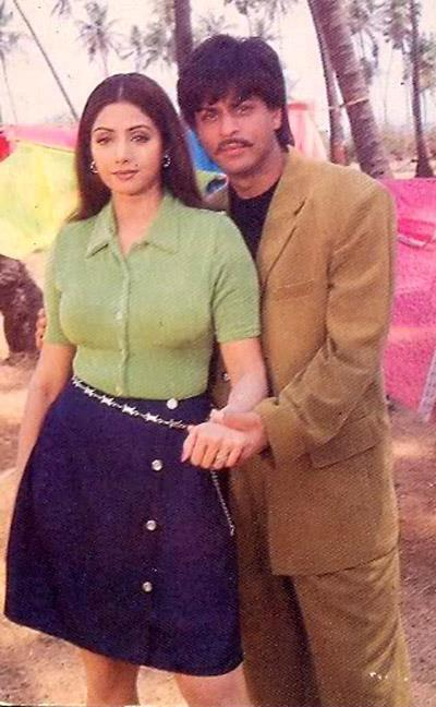Shahrukh And Sridevi Cool Posed Still On The Sets Of Army Movie