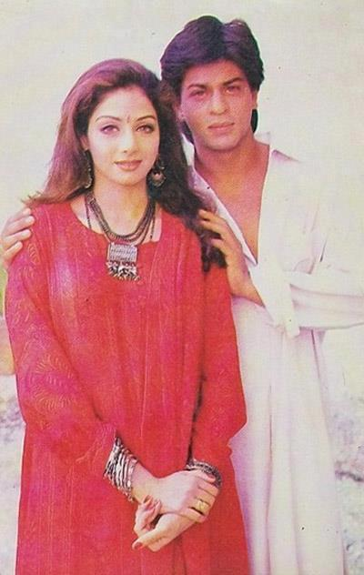 Shahrukh And Sridevi Nice Posed Still From Army Movie