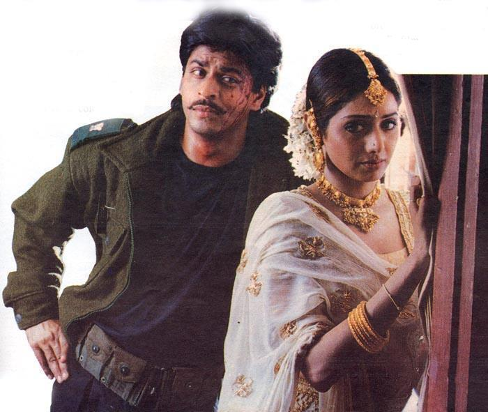 Shahrukh And Sridevi Romantic Posed Still From Army Movie