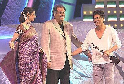 Sridevi With Hubby Boney And Shahrukh Smiling Look AT A Function Still