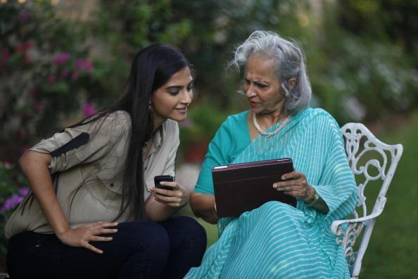 Sonam And Waheeda Chatting Still At The Interview