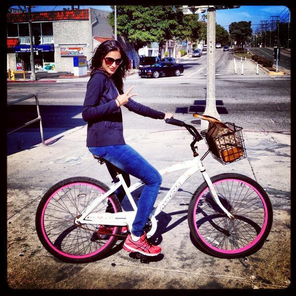 Nargis Fakhri Posed With Cycle Still