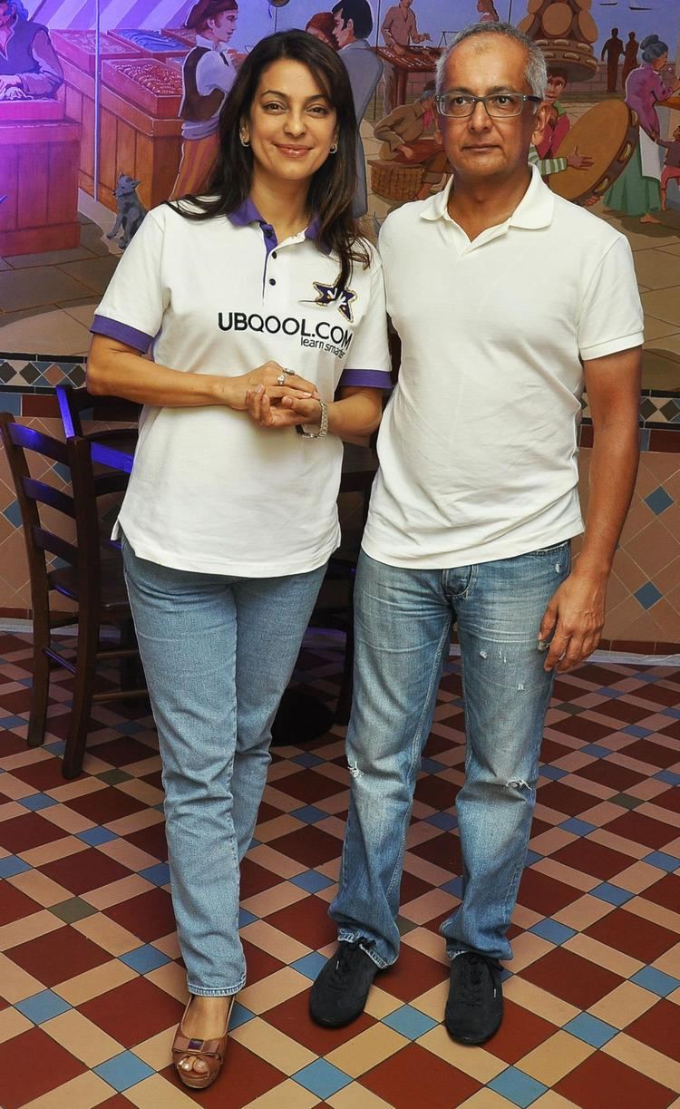 Juhi Chawla With Hubby Jay Mehta At KKR Team Dinner Party In Pizza Metro Pizza