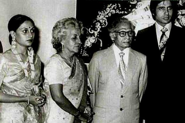 Jaya with Teji,Harivansh and Amitabh after Her Marriage