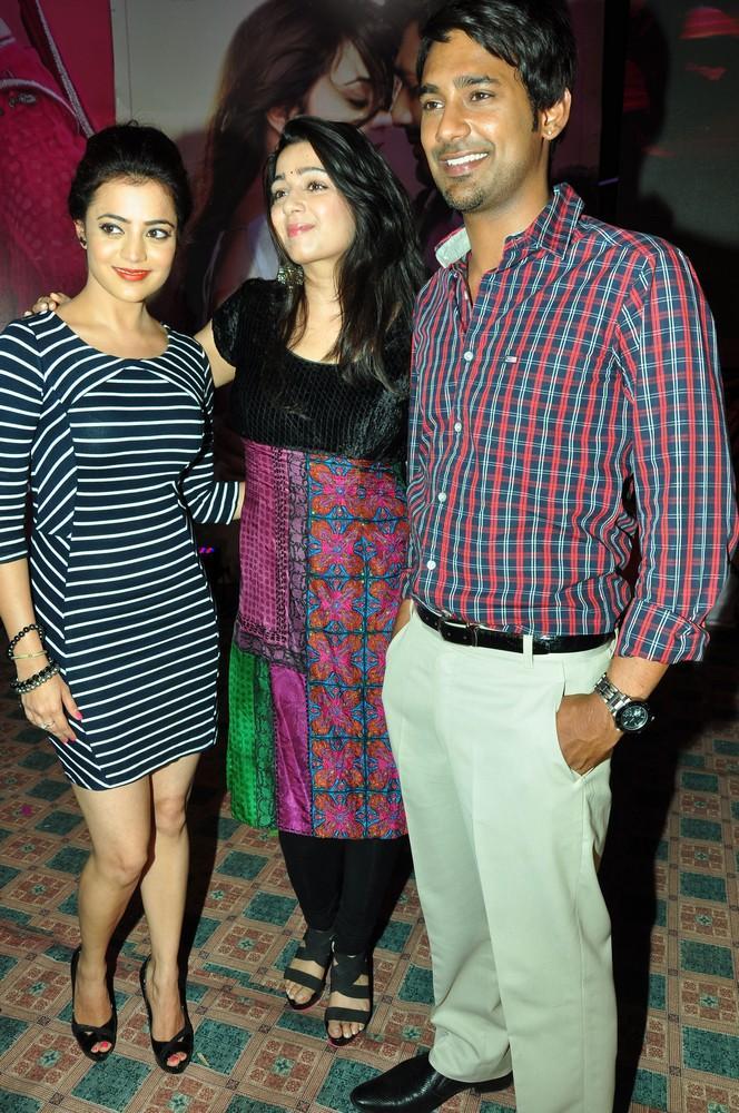 Nisha,Charmy And Varun Posed For Camera At Saradaga Ammaitho Movie Audio Launch Function