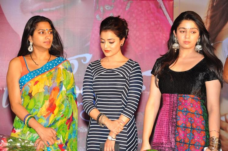 Surekha,Nisha And Charmy On The Stage At Saradaga Ammaitho Movie Audio Release Function