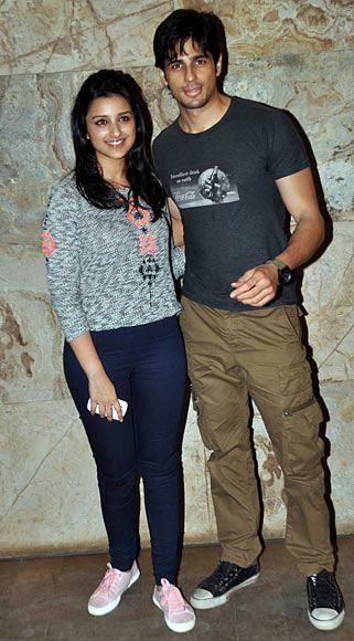 Parineeti And Sidharth Smiling Posed For Camera At Bombay Talkies Special Screening Event
