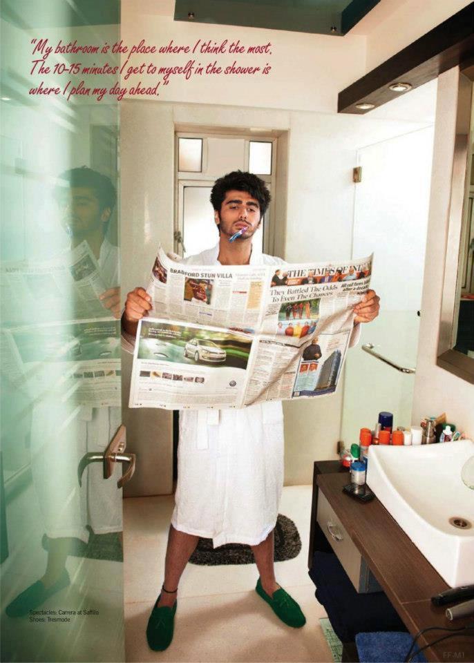 Arjun Kapoor Bathroom Pic For Filmfare Magazine 2013