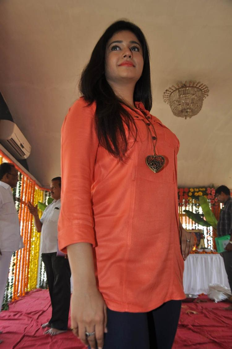 Poonam In Orange Color Dress Cool At H Production Pro No.6 Movie Launch Event
