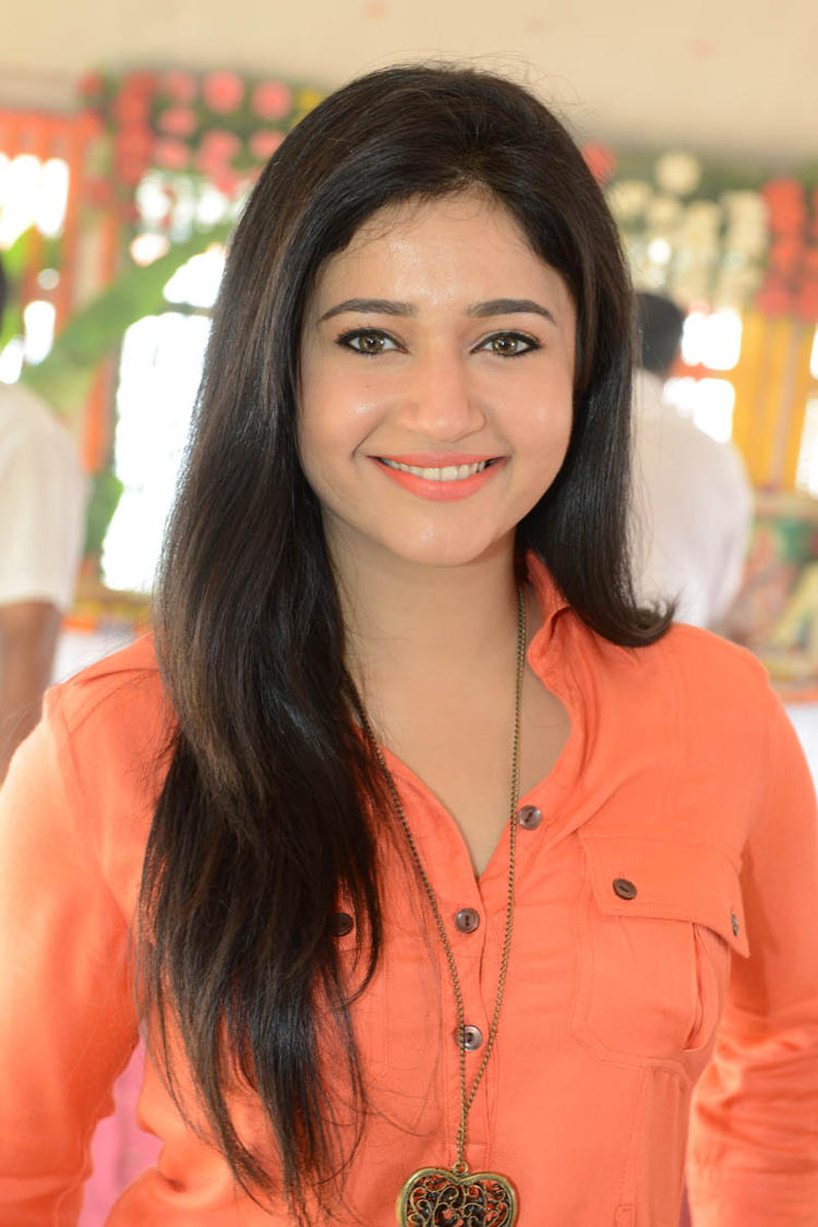 Poonam In Orange Color Dress Cute Face Look At H Production Pro No.6 Movie Launch Event