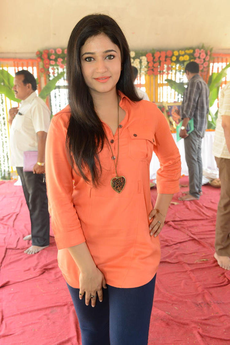 Poonam In Orange Color Dress Dazzling At H Production Pro No.6 Movie Launch Event