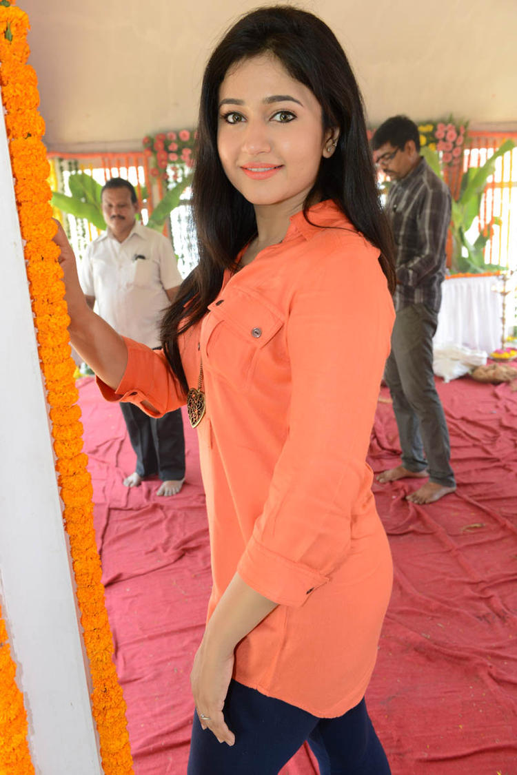 Poonam In Orange Color Dress Hot Look At H Production Pro No.6 Movie Launch Event