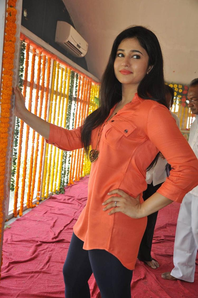 Poonam In Orange Color Dress Strikes A Pose At H Production Pro No.6 Movie Launch Event