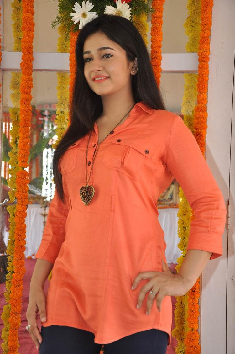 Poonam In Orange Color Dress Trendy Look At H Production Pro No.6 Movie Launch Event