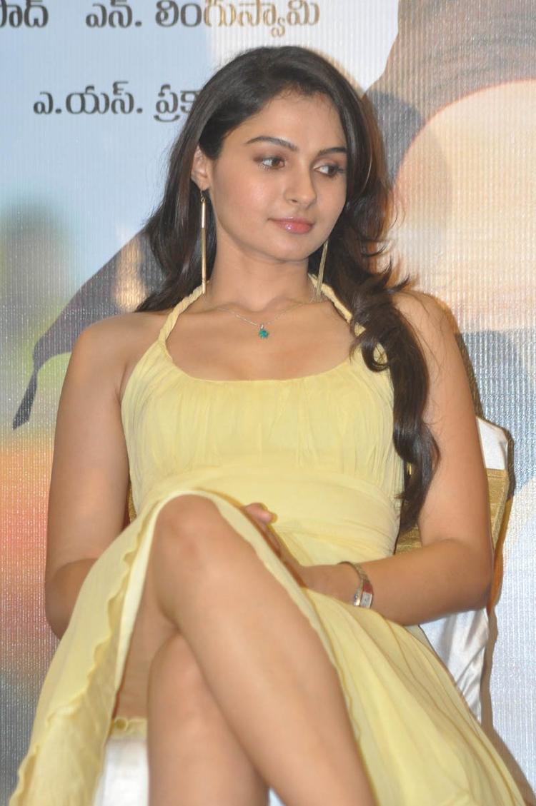 Andrea Jeremiah Hot Legs Exposing Still At Tadakha Movie Press Meet