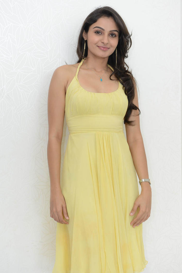 Andrea Looking Beautiful In This Yellow Gown During Tadakha Movie Press Meet