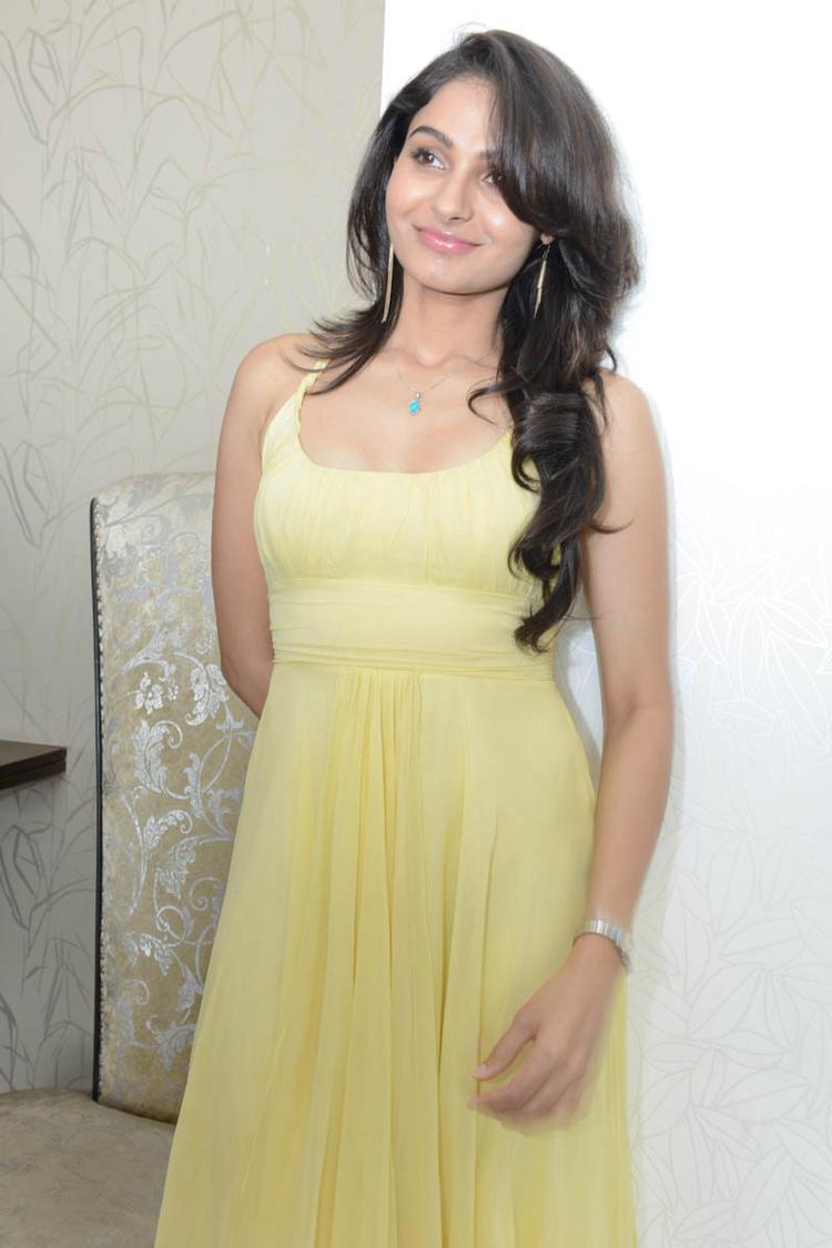 Glowing Babe Andrea Photo Shoot At Tadakha Movie Press Meet