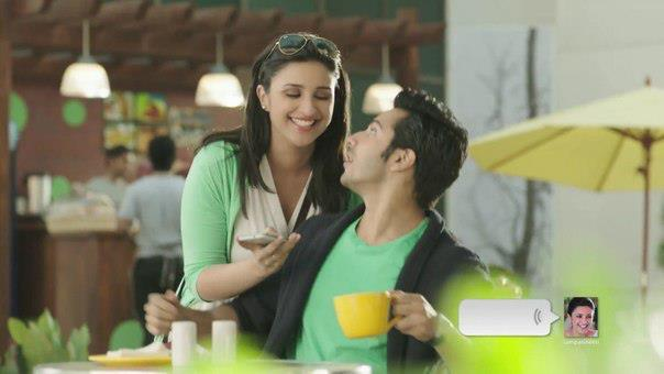 Varun And Parineeti Cool Smiling Gossip Photo Shoot For We Chat TVC Ad