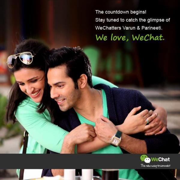 Varun And Parineeti Cool Smiling Hug Pose Photo Shoot For We Chat India TVC Ad