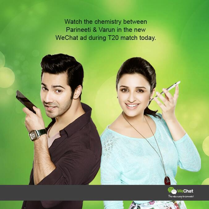 Varun And Parineeti Nice Look Posed For We Chat India TVC Ad
