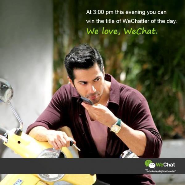 Varun Dhawan Chatting Pose Photo Shoot For We Chat India TVC Ad