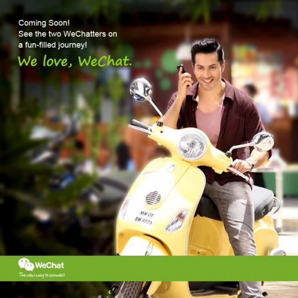Varun Dhawan Cool Scooter Riding Pose Photo Shoot For We Chat India TVC Ad