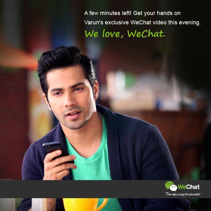 Varun Dhawan Nice Handsome Sizzling Look In We Chat India TVC Ad