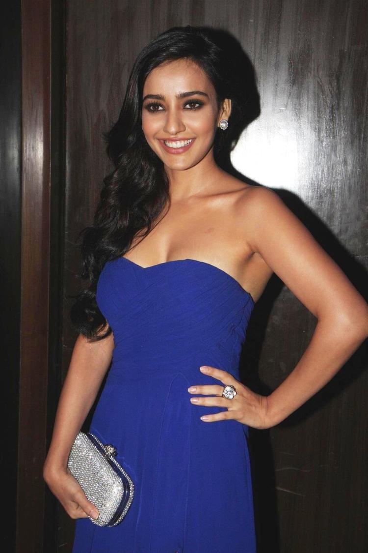 Neha Sharma Stapless Dress Hot Photo During Yamla Pagla Deewana 2 Music Launch