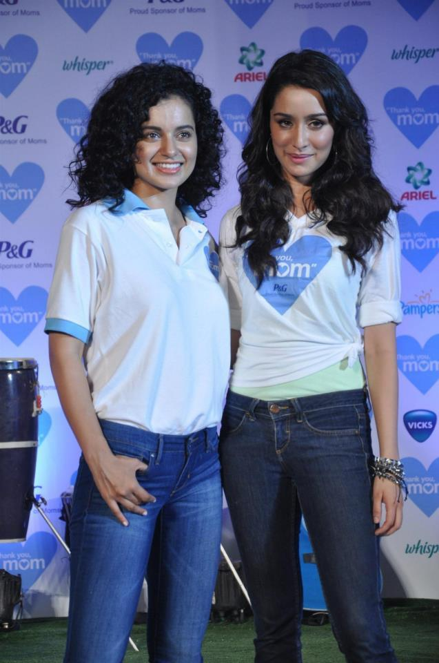 Shraddha And Kangana Pose During The P And G Thank You Mom Campaign