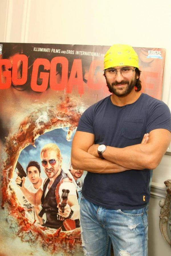 Saif Ali Khan Posed Near Film Poster At London During Go Goa Gone Press Conference