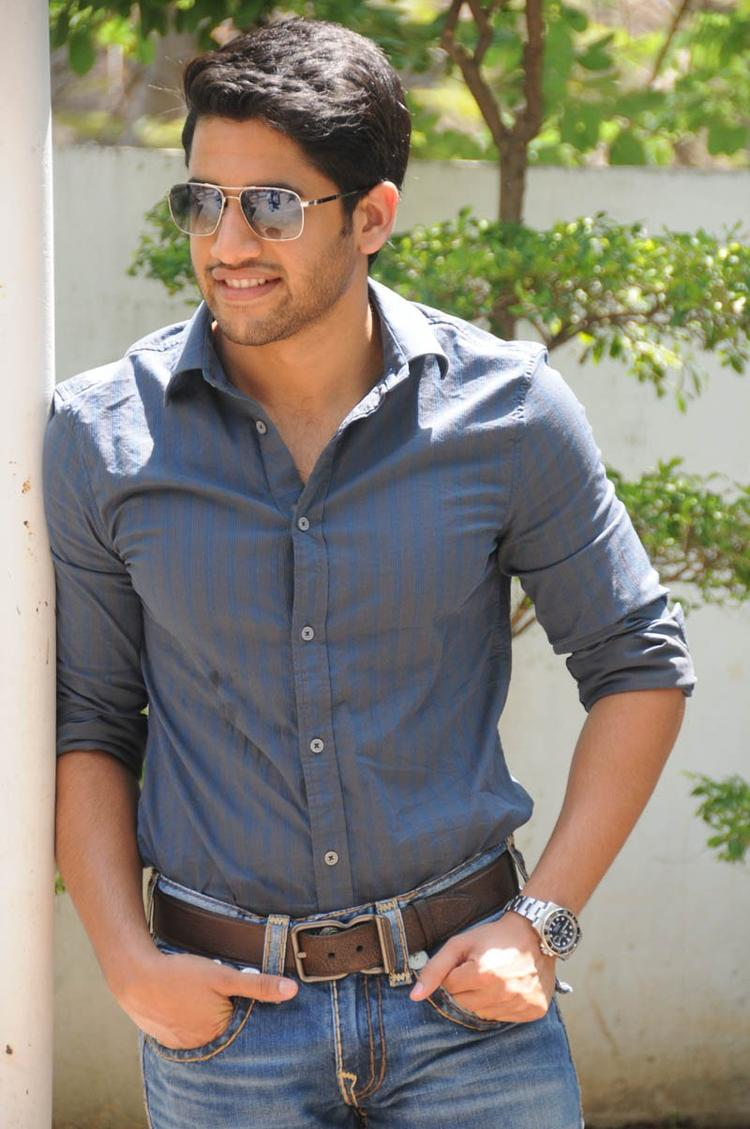 Naga Chaitanya Posed For Camera During The Interview Of Thadaka Movie