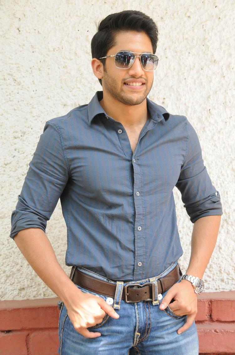 Naga Chaitanya Stylish Pose During The Interview Of Thadaka Movie