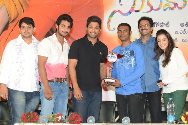 Aadi,Allu Arjun,G. Ashok And Nisha Posed During The Sukumarudu Triple Platinum Disc Function
