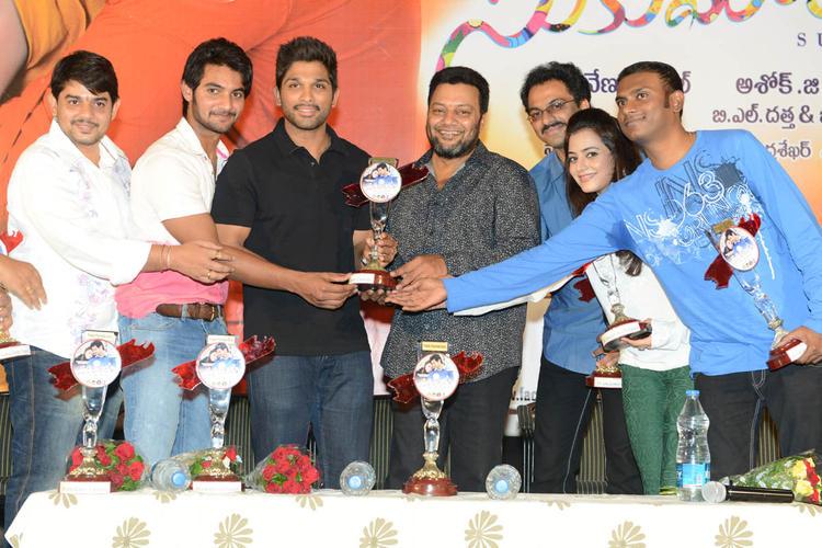 Aadi,Allu Arjun,Sai Kumar,G. Ashok And Nisha Present At Sukumarudu Triple Platinum Disc Function
