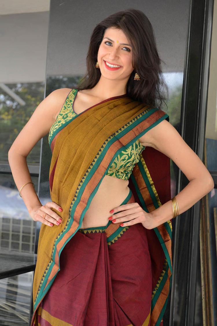 Sonia Birje In Saree Cool Smiling Look At Manushulatho Jagartha Movie Opening Function
