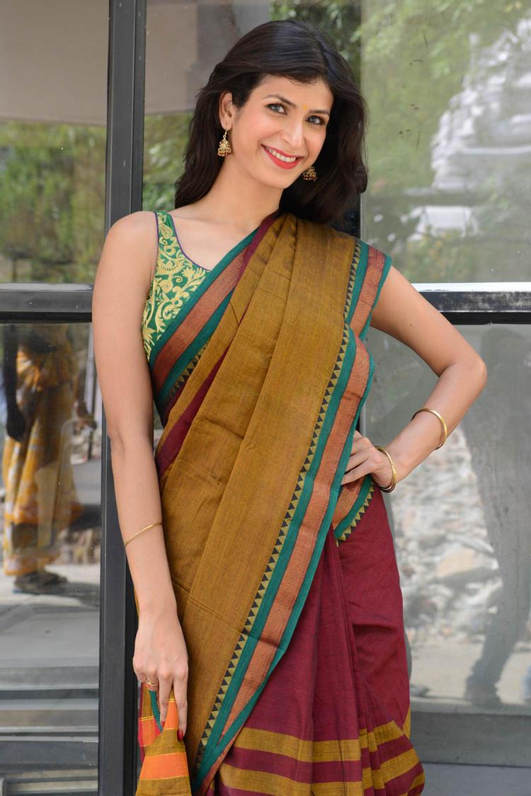 Sonia Birje In Saree Indian Traditional Look At Manushulatho Jagartha Movie Opening Function