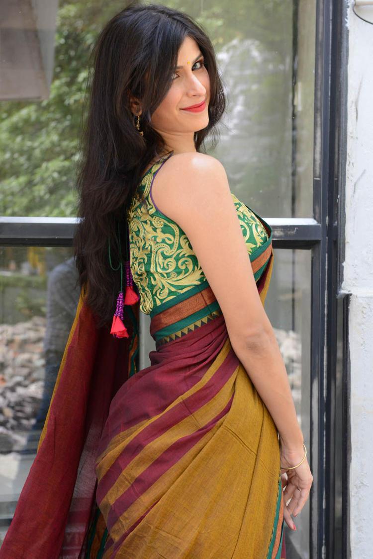 Sonia Birje In Saree Posed For Camera At Manushulatho Jagartha Movie Opening Function