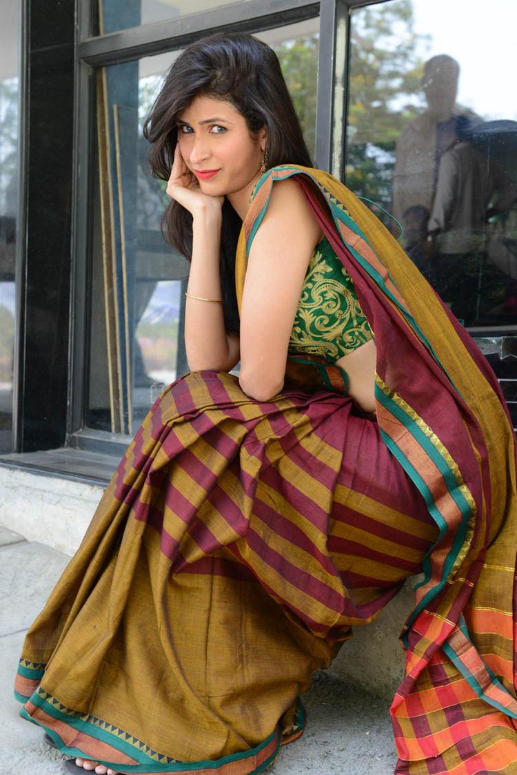 Sonia Birje In Saree Present At Manushulatho Jagartha Movie Opening Function