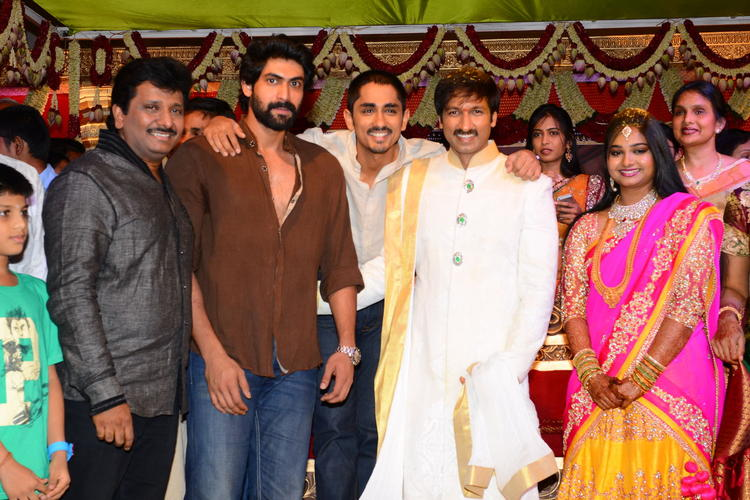 Rana And Siddharth Attend Gopi Chand And Reshma Wedding Bash