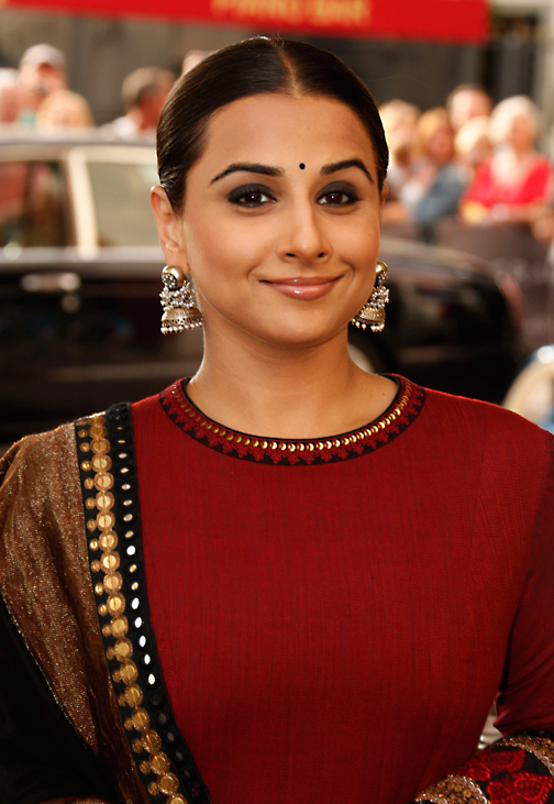 Vidya Dazzles In Maroon Sabyasachi Lehenga With Jhumkis At 66th Cannes Film Festival 2013