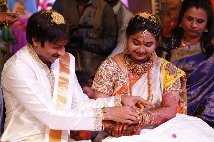 Gopi Chand And Reshma A Still From Their Wedding Bash