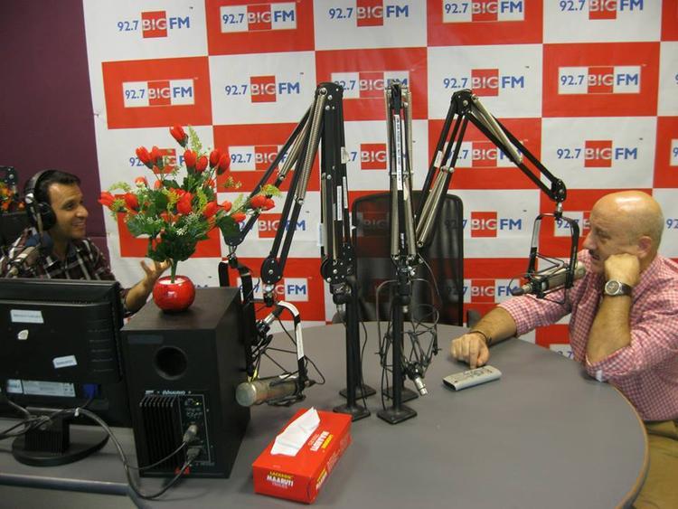Anupam Kher At 92.7 BIG FM Studio For Successful Completion Of 10 Years Of Kuch Bhi Ho Sakta Hai Program